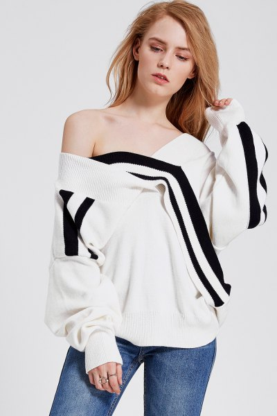 black and white off shoulder wrap sweatshirt jeans