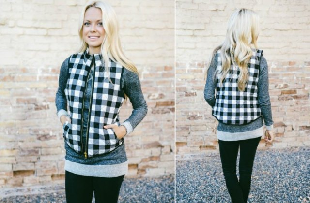 black and white plaid vest over grey long sweater leggings