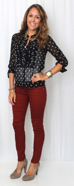 black and white polka dot shirt burgundy jeans