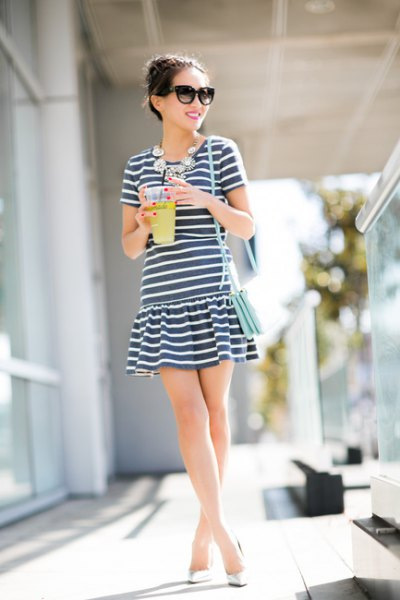 black and white striped drop waist dress