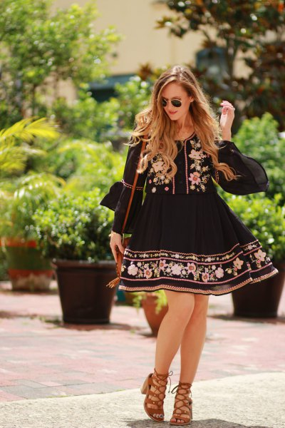black babydoll embroidered mini dress
