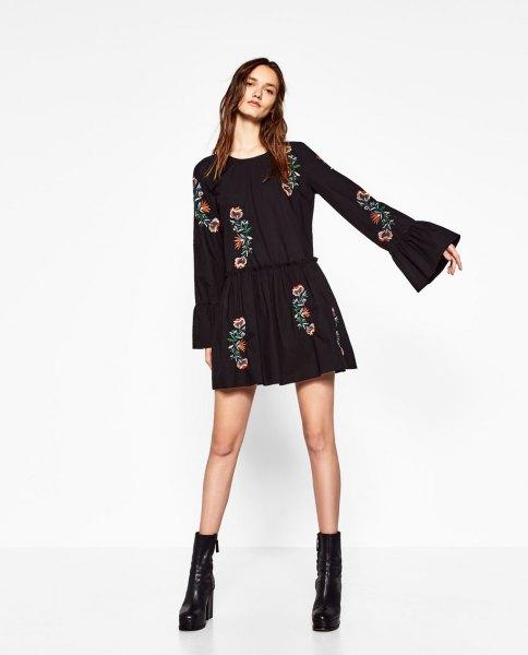 black bell sleeve floral embroidered skater mini dress