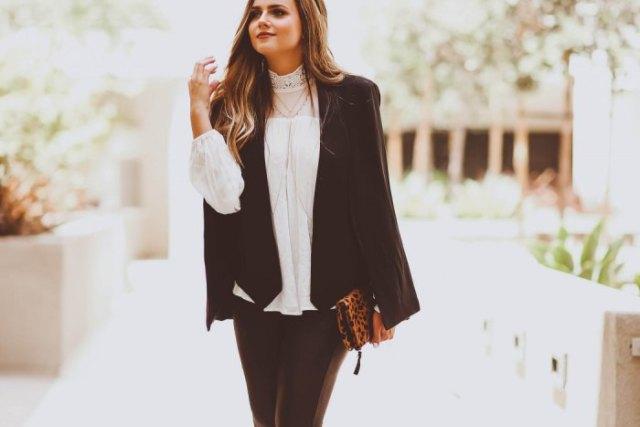 black blazer white mock neck lace blouse