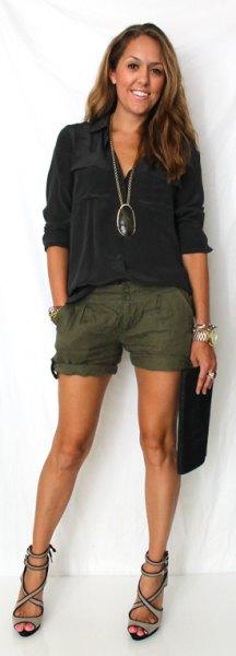 black blouse green linen shorts