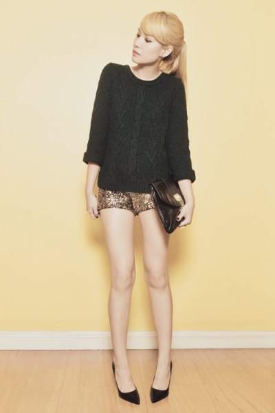 black cable knit chunky sweater