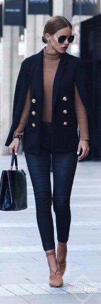 black cape coat crepe turtleneck sweater