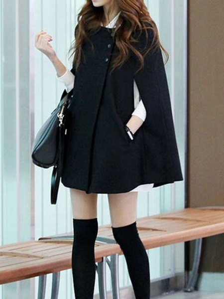 black cape coat white shirt dress