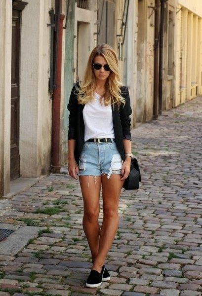 black cardigan denim shorts
