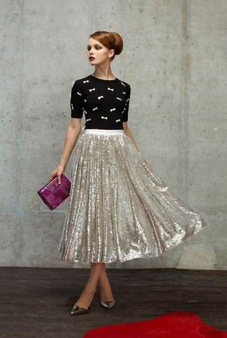 black cartoon printed shirt silver sequin pleated midi skirt