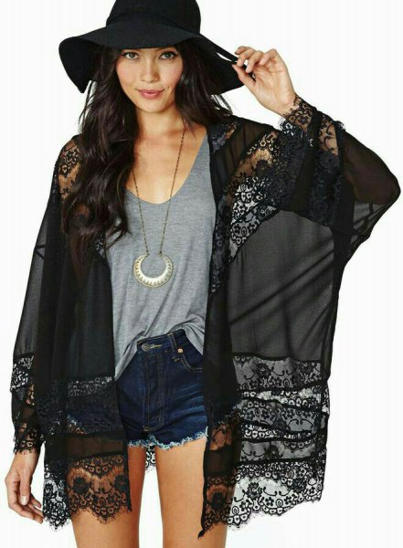 black chiffon cardigan with lace details