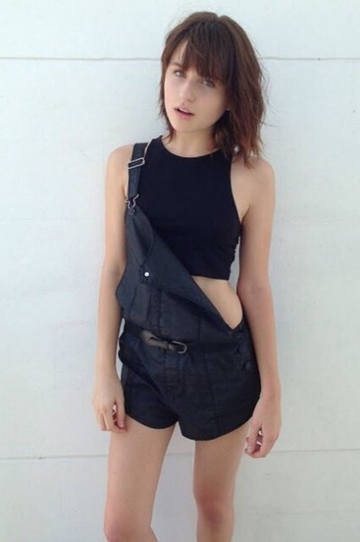 black cropped halter top overall shorts