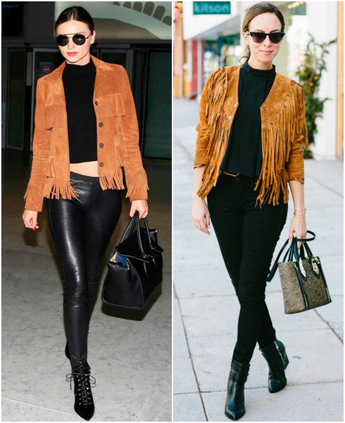 black cropped knit sweater leather pants
