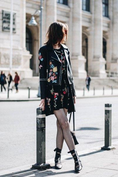 black embroidered mini shift dress leather jacket