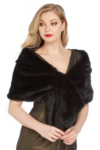 black faux fur shawl grey fit and flare mini dress