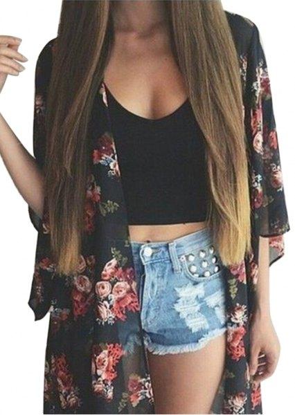 black floral chiffon cardigan crop top denim mini shorts