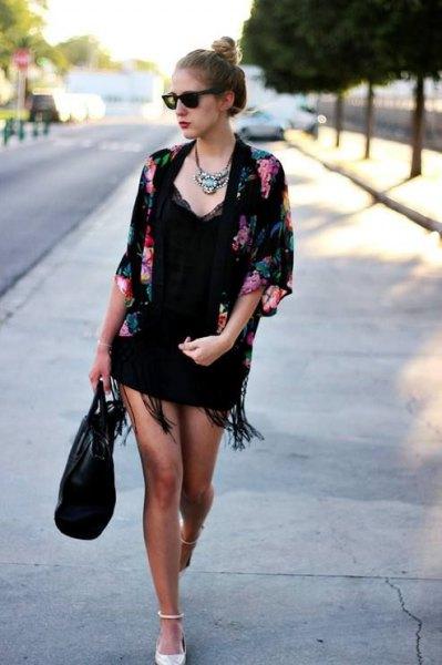 black floral fringe kimono lace deep v neck mini dress