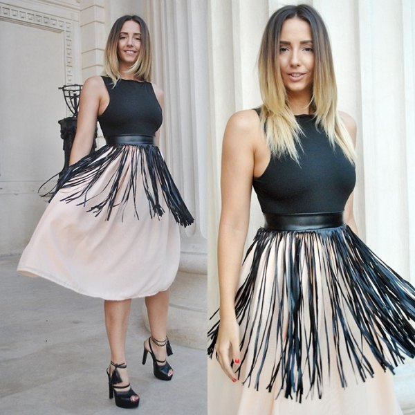 black fringe belt white chiffon flared midi skirt