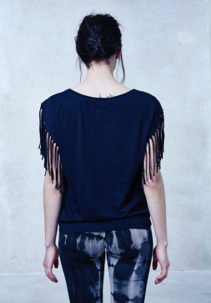 black fringe sleeve blouse printed skinny pants