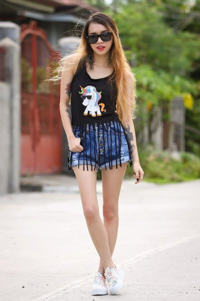 black fringe vest top blue denim shorts