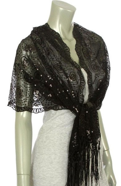 black lace shawl over light heather grey bodycon mini dress