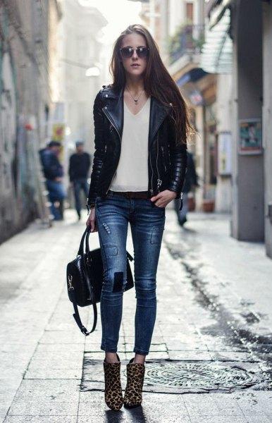 black leather jacket pink chiffon v neck blouse