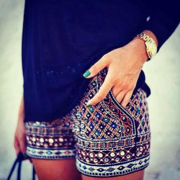 black long sleeve blouse stone embroidered shorts