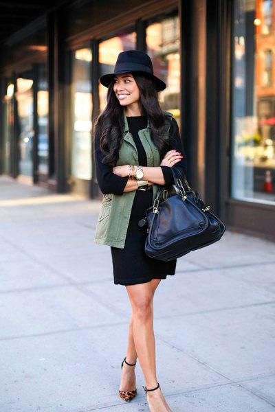 black long sleeve shift dress felt hat