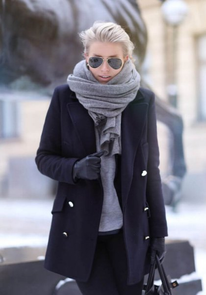 black long wool cost grey scarf