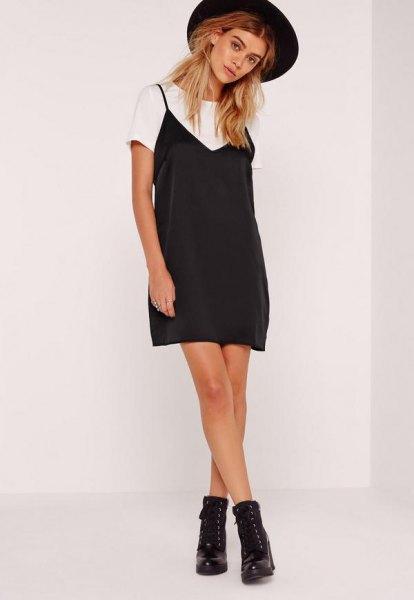 black mini cami dress over white t shirt