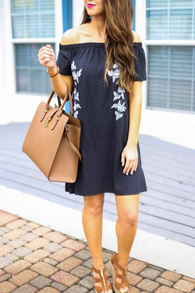 black off shoulder mini shift dress brown strappy sandals