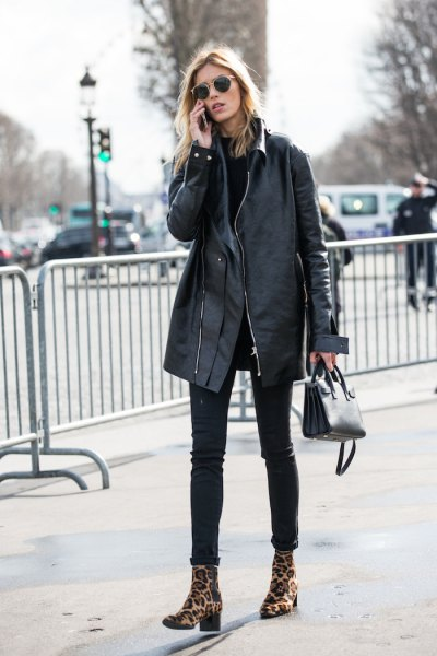 black oversized leather jacket skinny jeans