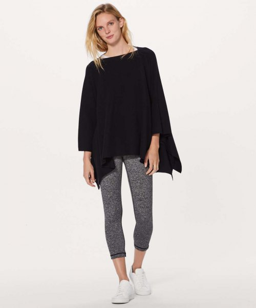 black poncho heather grey running tights