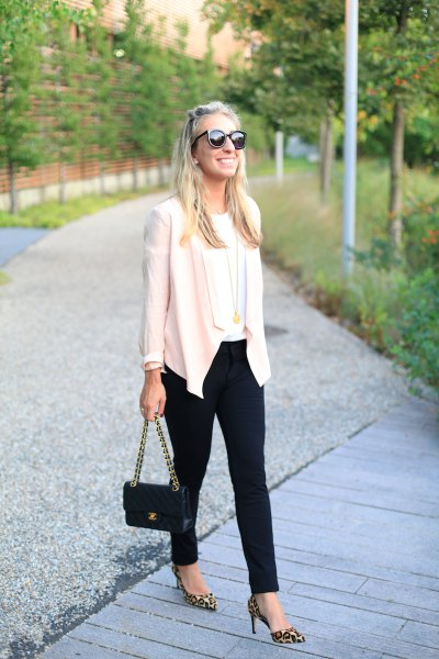 black ponte pants white casual blazer