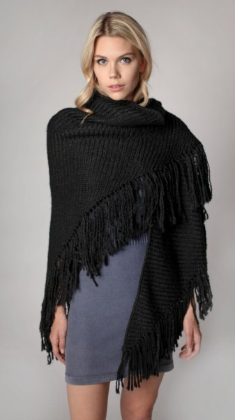 black ribbed fringe shawl grey mini shift dress