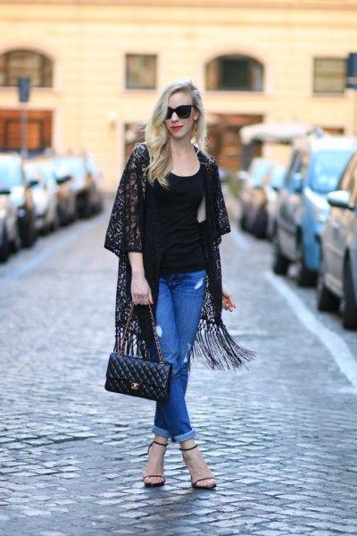 black rose printed fringe kimono blue mom jeans