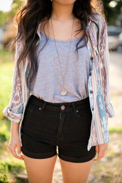 black shorts grey tee pink tie dye shirt