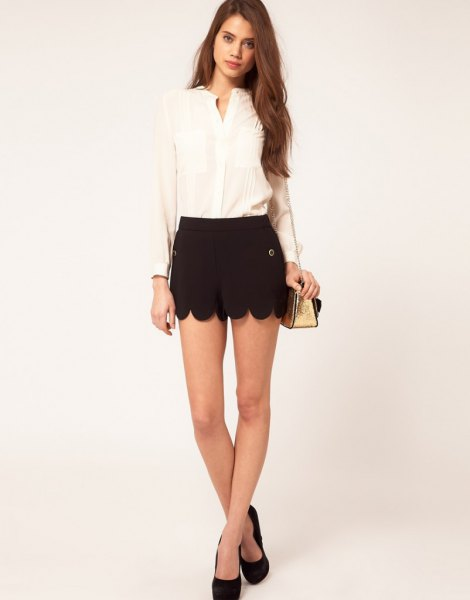 black shorts pale yellow chiffon blouse