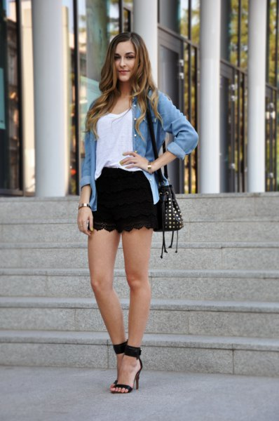 black shorts white vest top chambray shirt
