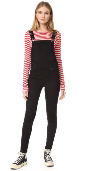 black skinny leg velvet overalls red and white striped tee