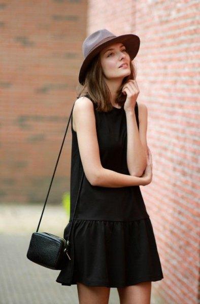 black tank drop waist mini skater dress felt hat