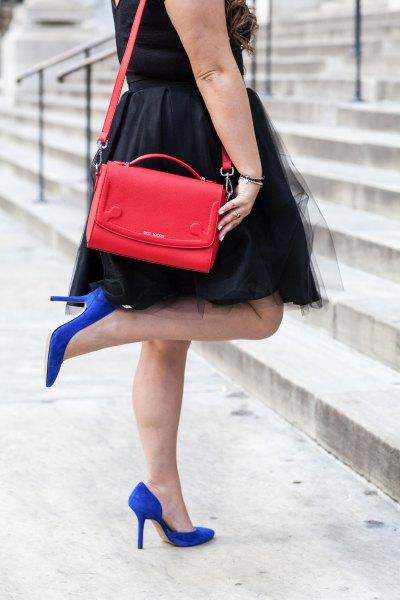 black tulle skater dress royal blue suede heels