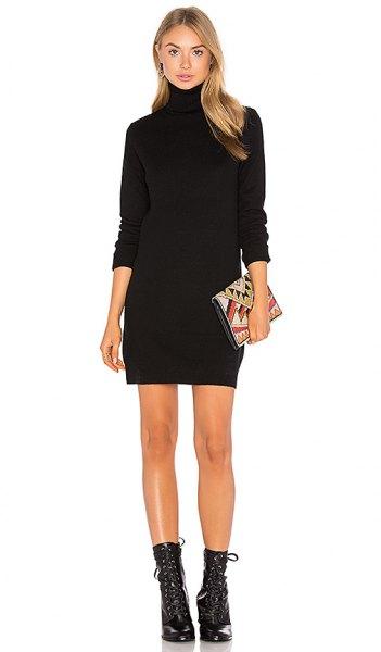 black turtleneck mini sweater dress mid calf lace up boots