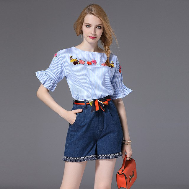 blue and white striped floral blouse denim mini skirt