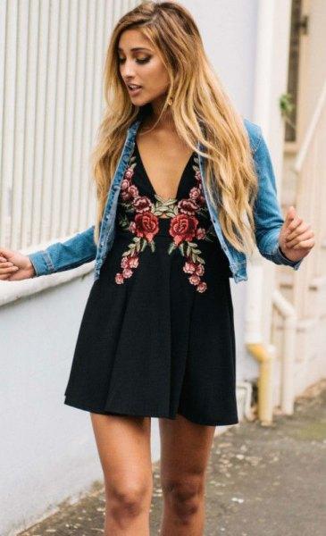 blue denim jacket black deep v neck floral embroidered mini dress