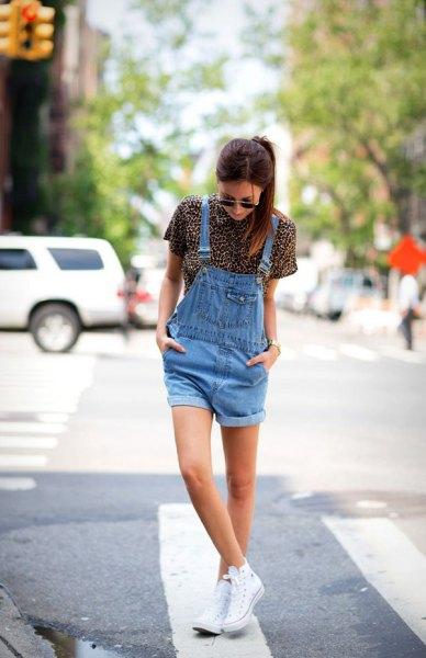 blue denim overall shorts leopard print short sleeve shirt
