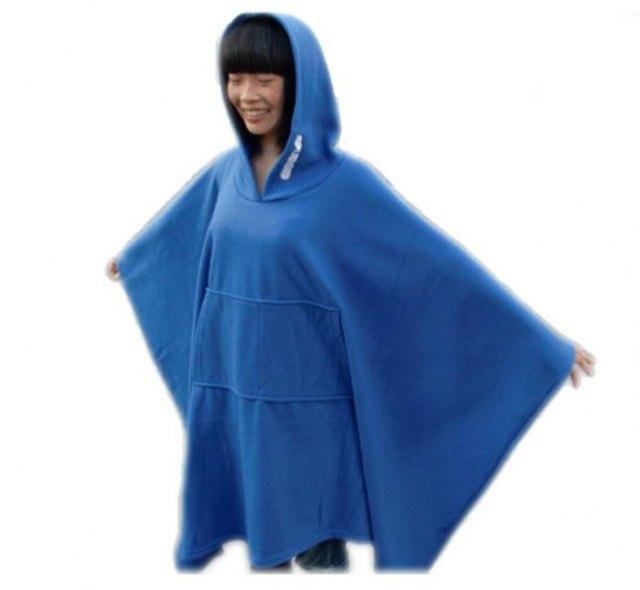 blue fleece hooded poncho