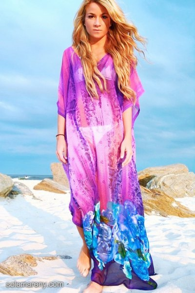 blue floral maxi chiffon cover up beach dress