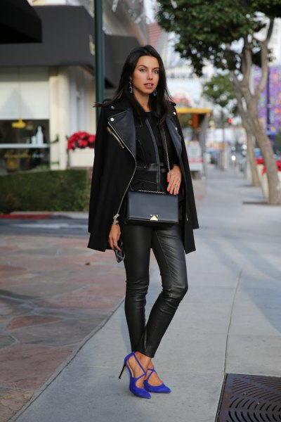 blue suede heels black moto jacket leather pants