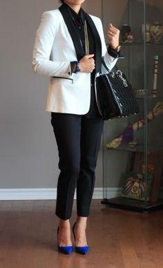 blue suede heels with black shirt white blazer