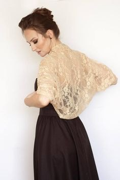 blush pink bolero lace shrug black fit and flare dress